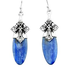 15.65cts natural blue kyanite 925 sterling silver holy cross earrings p66426