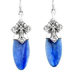 15.08cts natural blue kyanite 925 sterling silver holy cross earrings p66431