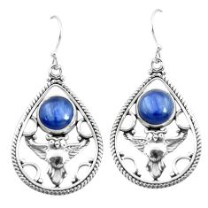 6.57cts natural blue kyanite 925 sterling silver owl earrings jewelry p52053