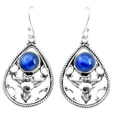 6.81cts natural blue kyanite 925 sterling silver owl earrings jewelry p52054