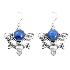 6.56cts natural blue kyanite 925 sterling silver owl earrings jewelry p52070