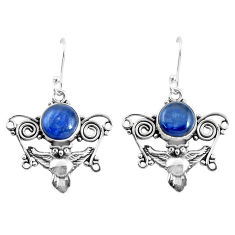 6.59cts natural blue kyanite 925 sterling silver owl earrings jewelry p52071