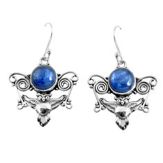 6.58cts natural blue kyanite 925 sterling silver owl earrings jewelry p52073
