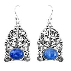 8.71cts natural blue kyanite 925 sterling silver tree of life earrings p52245