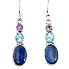 10.76cts natural blue kyanite amethyst 925 silver dangle earrings d32555