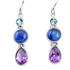 12.96cts natural blue kyanite amethyst 925 silver dangle earrings p57386