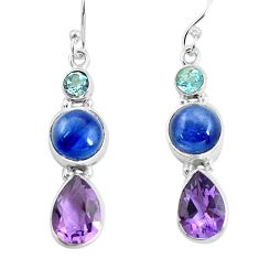 13.33cts natural blue kyanite amethyst 925 silver dangle earrings p57389