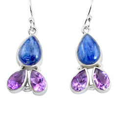 14.72cts natural blue kyanite amethyst 925 silver dangle earrings p57394