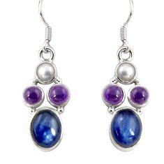 14.41cts natural blue kyanite amethyst pearl 925 silver dangle earrings d32342