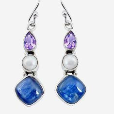 11.13cts natural blue kyanite amethyst pearl 925 silver dangle earrings p57512