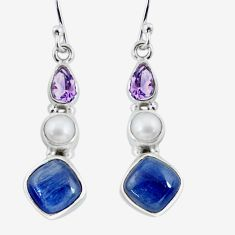 10.32cts natural blue kyanite amethyst pearl 925 silver dangle earrings p57514