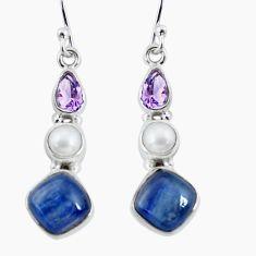 11.04cts natural blue kyanite amethyst pearl 925 silver dangle earrings p57518