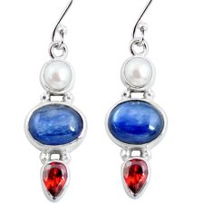 11.07cts natural blue kyanite garnet pearl 925 sterling silver earrings p57526