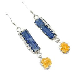 Natural blue kyanite rough citrine 925 sterling silver dangle earrings j9105