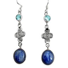 11.93cts natural blue kyanite topaz 925 sterling silver dangle earrings d32541