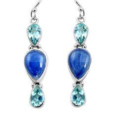 14.26cts natural blue kyanite topaz 925 sterling silver dangle earrings p57382