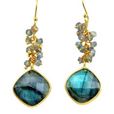 22.59cts natural blue labradorite 925 silver 14k gold dangle earrings p75675