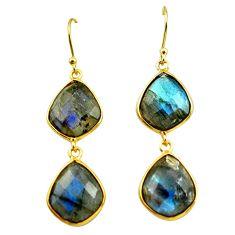 22.81cts natural blue labradorite 925 silver 14k gold dangle earrings p75836