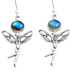 4.52cts natural blue labradorite 925 silver angel wings fairy earrings p38485