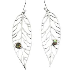 0.97cts natural blue labradorite 925 silver deltoid leaf earrings p82360