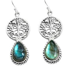 9.39cts natural blue labradorite 925 silver tree of life earrings p54859