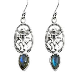 4.08cts natural blue labradorite 925 sterling silver angel earrings p84957