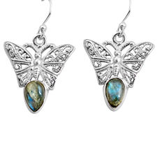 4.22cts natural blue labradorite 925 sterling silver butterfly earrings p84891
