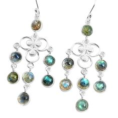 12.91cts natural blue labradorite 925 sterling silver chandelier earrings p43871