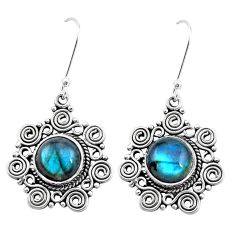 8.42cts natural blue labradorite 925 sterling silver dangle earrings p26378