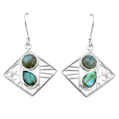 7.51cts natural blue labradorite 925 sterling silver dangle earrings p32519