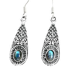 3.51cts natural blue labradorite 925 sterling silver dangle earrings p34390