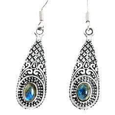 3.29cts natural blue labradorite 925 sterling silver dangle earrings p34492