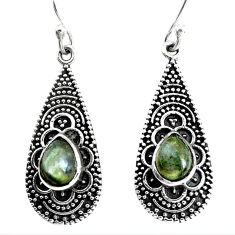 4.92cts natural blue labradorite 925 sterling silver dangle earrings p34494