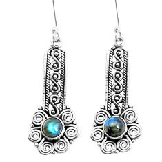 2.85cts natural blue labradorite 925 sterling silver dangle earrings p39239