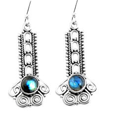 2.93cts natural blue labradorite 925 sterling silver dangle earrings p39337