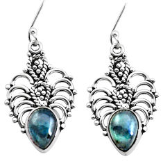 6.07cts natural blue labradorite 925 sterling silver dangle earrings p41319
