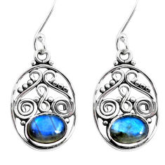 84.00cts natural blue labradorite 925 sterling silver dangle earrings p41414