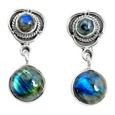 12.71cts natural blue labradorite 925 sterling silver dangle earrings p51512