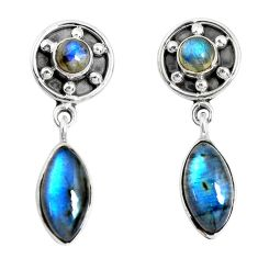 13.71cts natural blue labradorite 925 sterling silver dangle earrings p51515