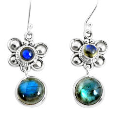 11.66cts natural blue labradorite 925 sterling silver dangle earrings p51547