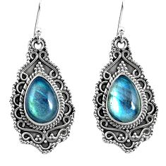 7.36cts natural blue labradorite 925 sterling silver dangle earrings p52759