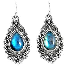 8.23cts natural blue labradorite 925 sterling silver dangle earrings p52760