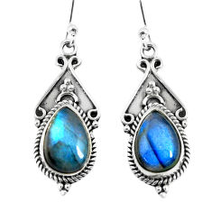 6.36cts natural blue labradorite 925 sterling silver dangle earrings p52778