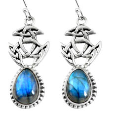 9.61cts natural blue labradorite 925 sterling silver dangle earrings p54877