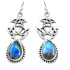 9.35cts natural blue labradorite 925 sterling silver dangle earrings p54878