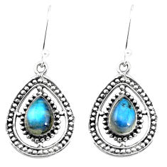 5.27cts natural blue labradorite 925 sterling silver dangle earrings p58150