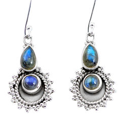 5.81cts natural blue labradorite 925 sterling silver dangle earrings p58225