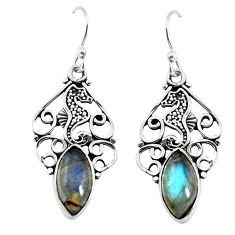 9.61cts natural blue labradorite 925 sterling silver dangle earrings p58375