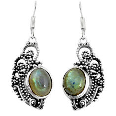 6.58cts natural blue labradorite 925 sterling silver dangle earrings p58412