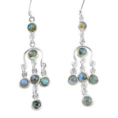 9.65cts natural blue labradorite 925 sterling silver dangle earrings p60530